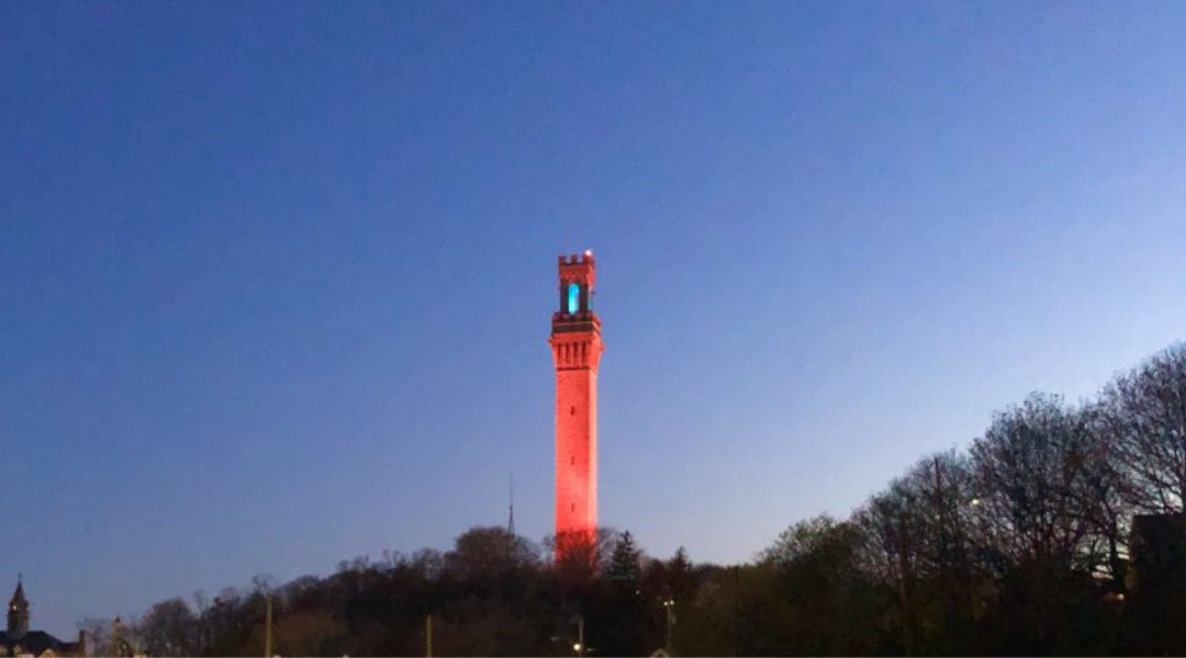 Pilgrim Monument Red Blue Lights Honors Workers 2020